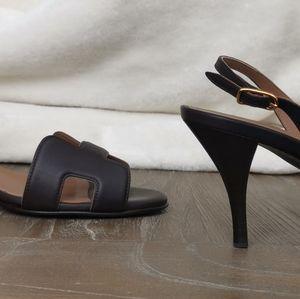 Hermès Brown Night Leather Slingback Sandals